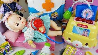 Baby doll Doctor and Pororo Hospital bag play toys house play - ToyMong TV 토이몽