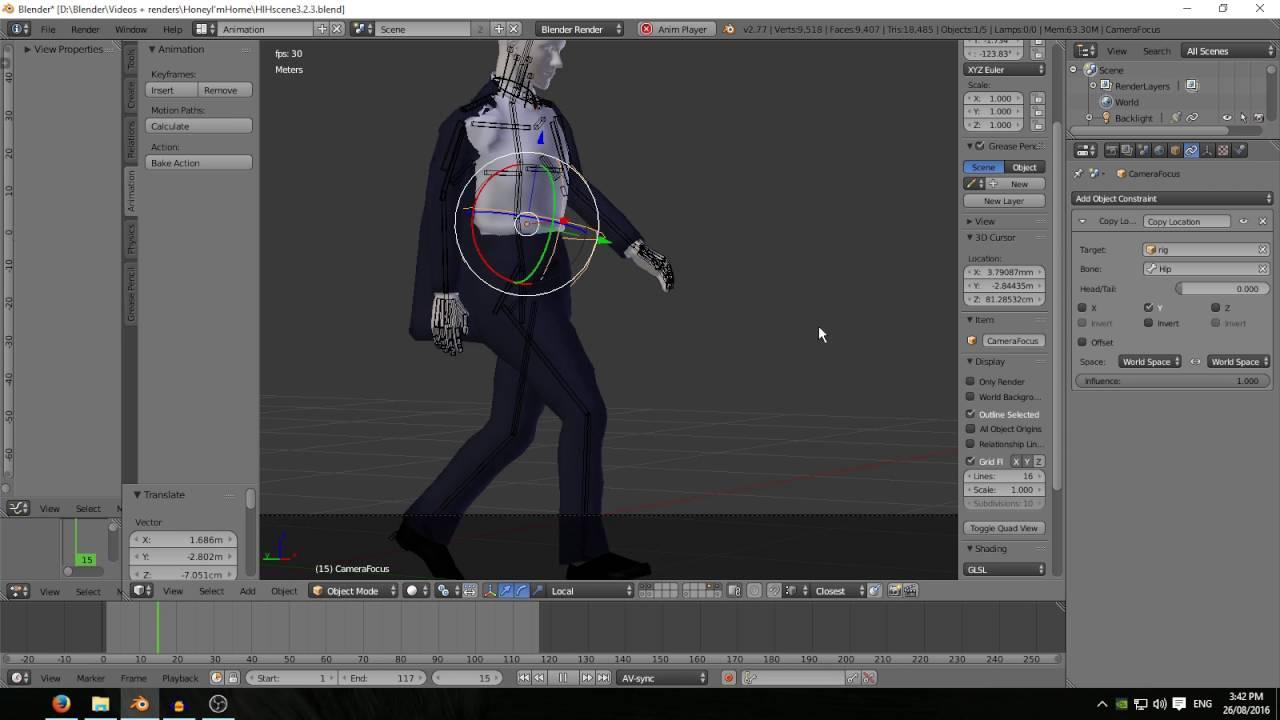 Using BVH Files in Blender - 5  Final animation tweaks