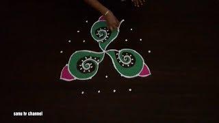 7 Dots rangoli ||beginners rangoli ||sangu rangoli ||deepam rangoli ||simple rangoli ||