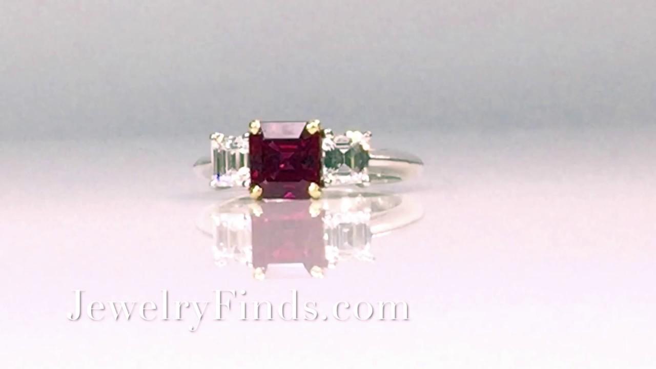 5b1f131c4d8d1 Estate Rare Tiffany & Co. Natural Red Ruby Diamond Three Stone Ring 18k  Yellow Gold Platinum