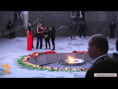Kim Kardashian and sister Khloe laid flowers at Armenian Genocide Memorial in Yerevan