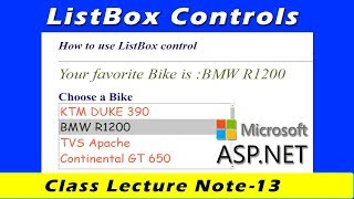 Download Mp3 List Control & Listbox Control In Asp.net | Class Lecture Notes #13