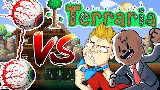 FLYING EYEBALLS ARE TERRIFYING - TERRARIA RED VS BLUE PRANK WARS #3