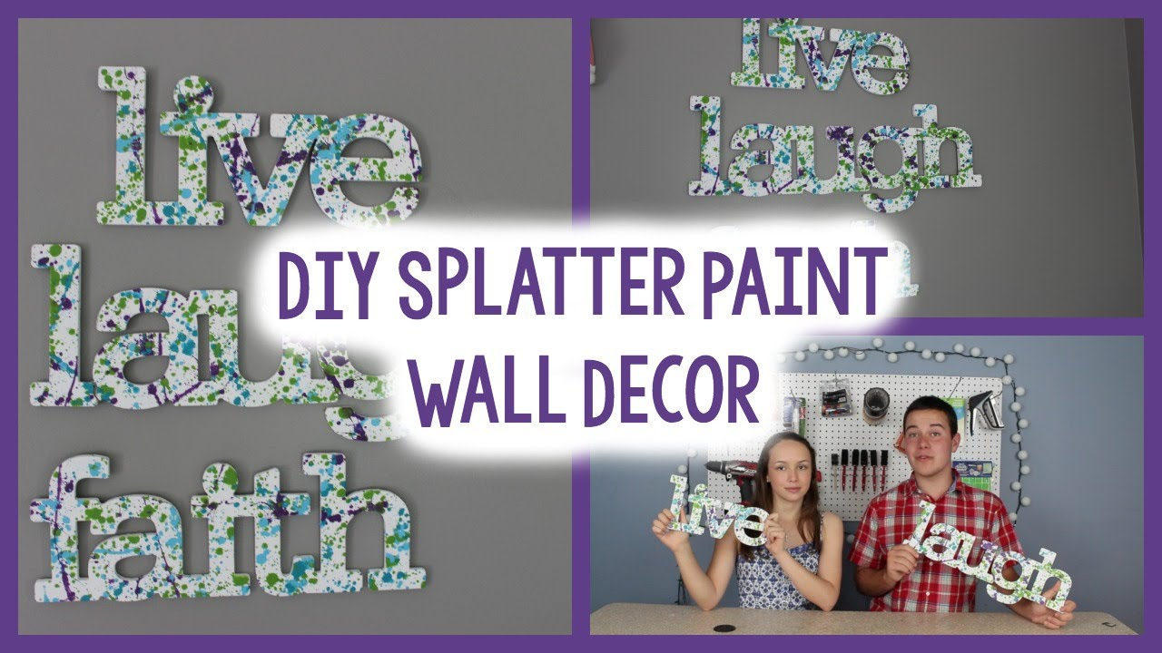 Diy splatter paint wall decor tumblr inspired quick for Quick and easy room decor ideas
