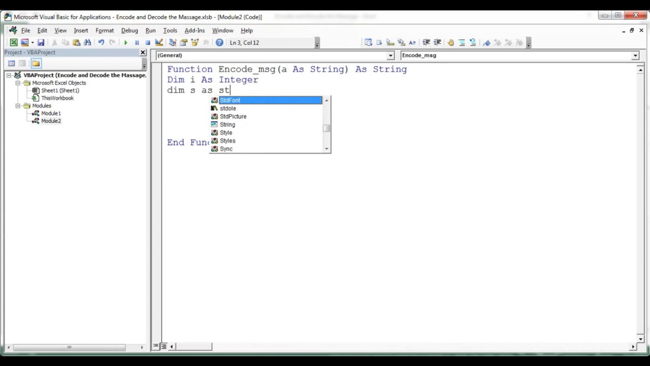 Encode and Decode your message in Excel