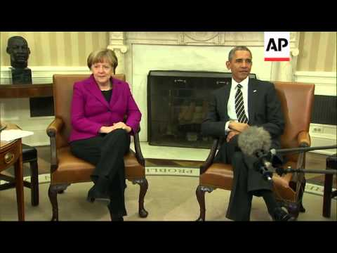 German Chancellor Angela Merkel is at the White House Monday, meeting with President Barack Obama. T