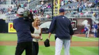 Dominika Cibulkova pitches at the San Diego Padres