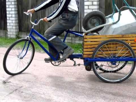 видео: Самодельный трехколесный грузовой велосипед в работе