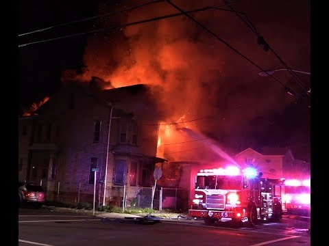 Paterson NJ Fire Dept 3rd Alarm Fire Heavy Fire in 2 Vacant 2.5 Frame Structures