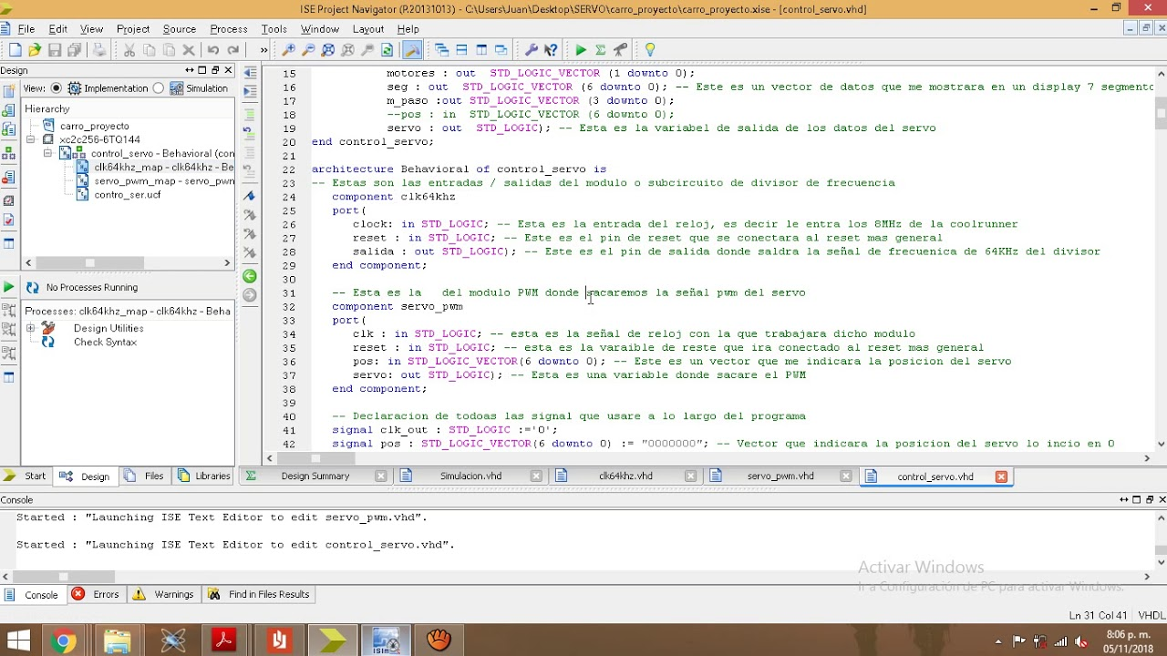Controlar Servo Motor mediante VHDL