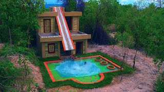 Build Water Slide Park Into Underground Swimming Pool