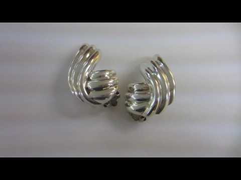 Vintage Large Tiffany & Co. 925 Sterling Silver Clip Earrings