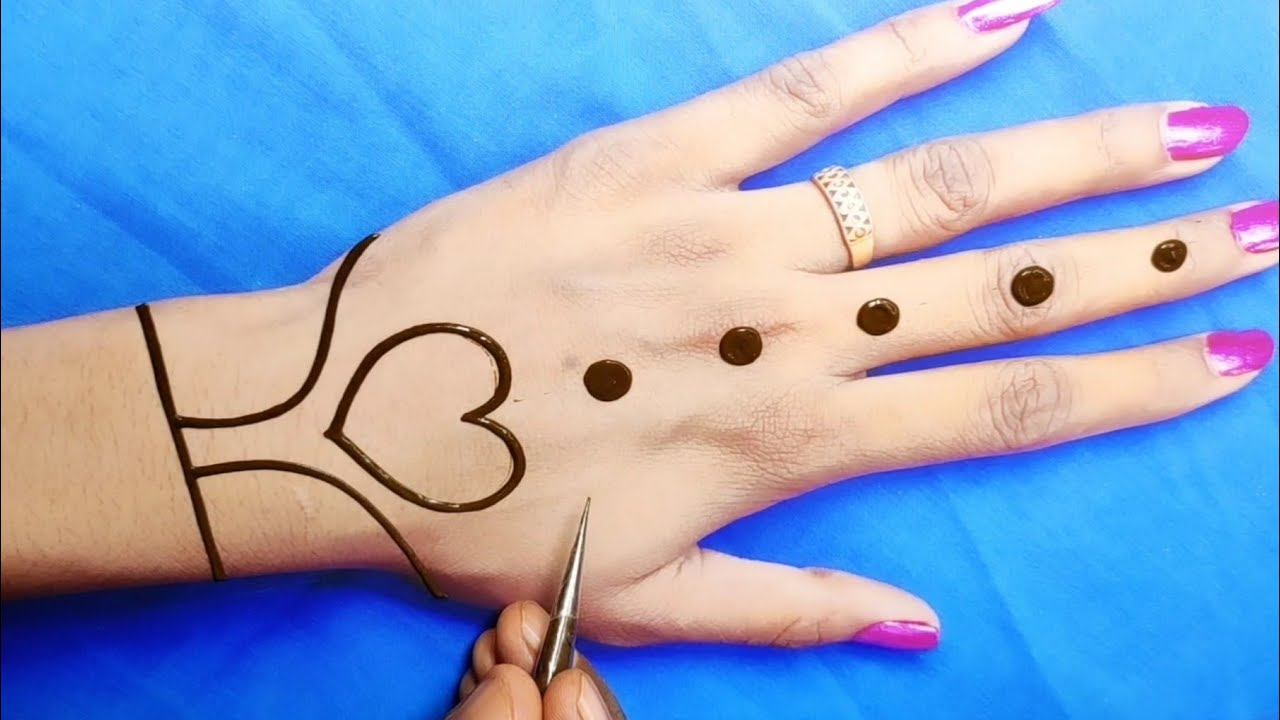 easy gol tikki back hand mehndi-back and heartshape Arabic mehndi design-हरतालिका स्पेशल मेहंदी