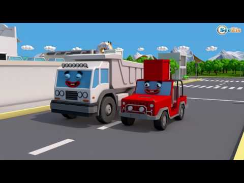 Trucks Cars Cartoon for Children Learn Colors With Surprise Activity Tractor & Excavators