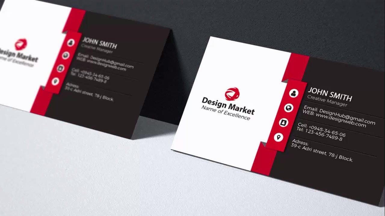 Clean and Simple Business Card Ideas and Examples Design in Photoshop  tutorial