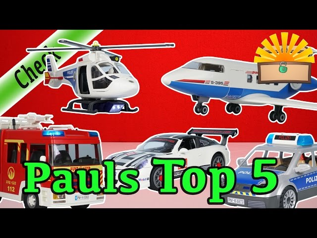 TOP 5 LIEBLINGS PLAYMOBIL FAHRZEUGE - Polizei, Feuerwehr, Porsche, Flugzeug, SEK