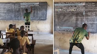 Teacher In Ghana Uses Chalkboard To Teach Microsoft Word, And The Details Are Impressive