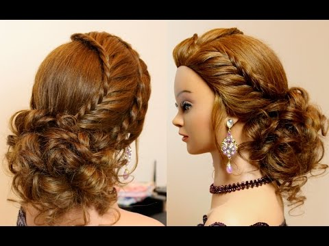 Hairstyle for long hair tutorial. Prom updo with braids