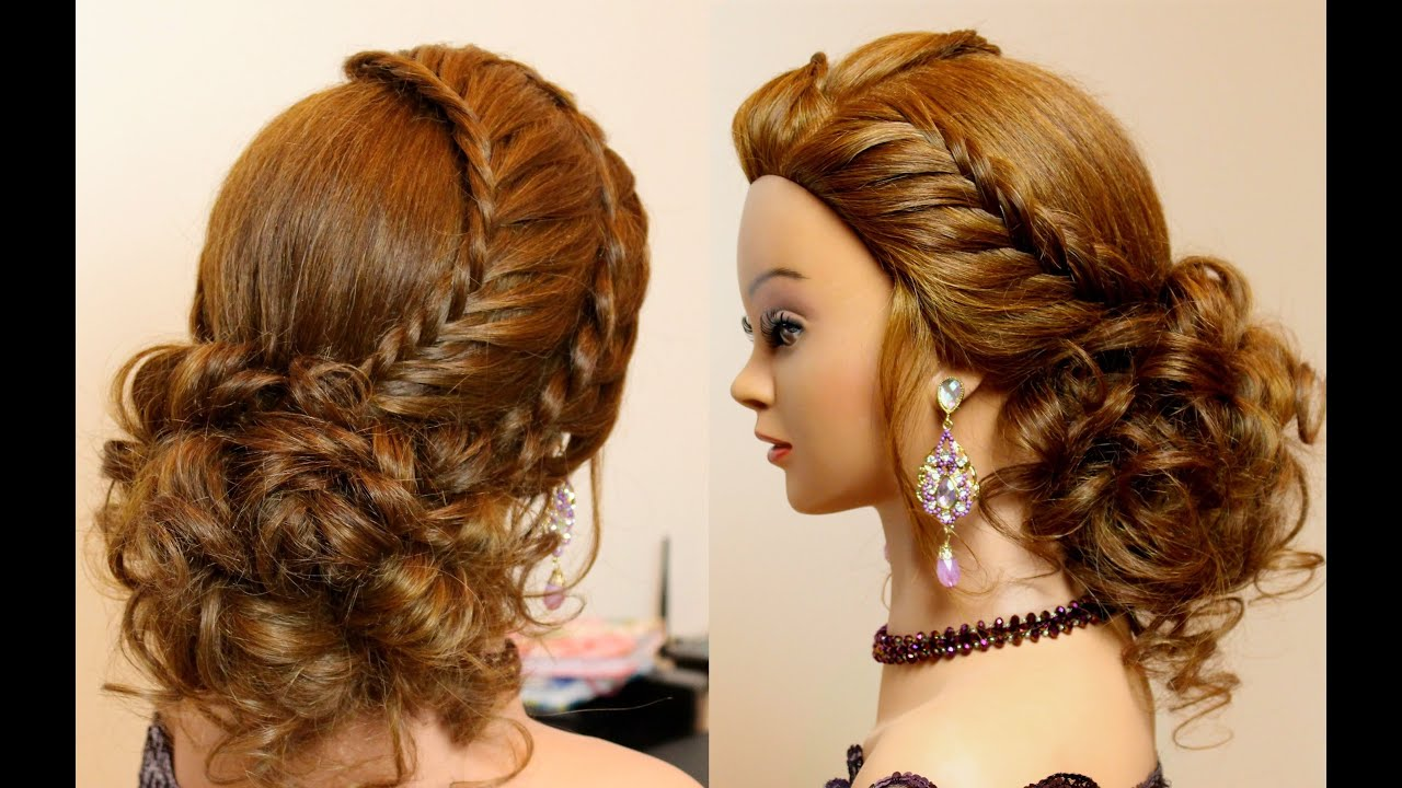 Bridal prom updo. Hairstyles for medium long hair - YouTube
