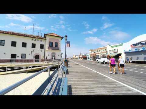 Ocean City, NJ - Boardwalk Bench Overlooking Music Pier - 4K Video