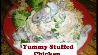 Fresh Basil & Mozzarella Stuffed Chicken W/a Mushroom Sauce | Yummy Cooking Tutorial