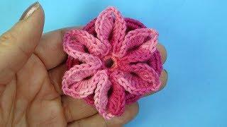 Очень красивый цветок крючком   Вязаные цветы   Урок  99