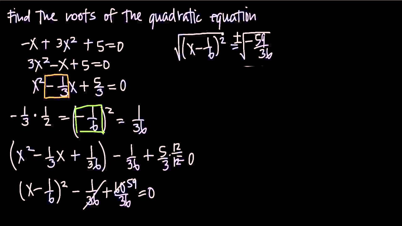 Completing The Square With Complex Roots Kristakingmath Youtube