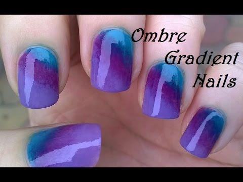 Ombre Gradient Nails Diy Purple Green Sponge Nail Art Youtube