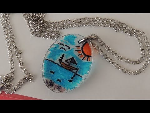 EPOKSİ KOLYE RESİMLİ - EPOXY NECKLACE - DIY