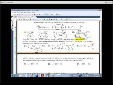 Math 1060 Sec. 6.1 - Complex Numbers (Review of Basics)