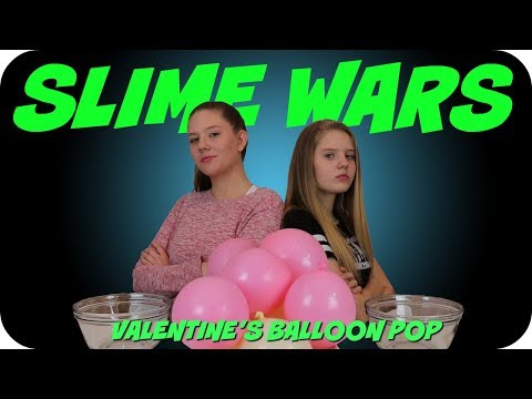 SLIME WARS VALENTINE'S DAY BALLOON POP || Taylor and Vanessa