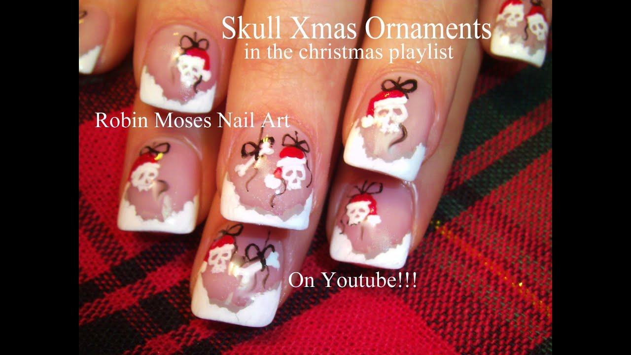 The christmas nail ornament - Christmas Santa Skull Ornaments Nails Xmas Nail Art Design Tutorial Youtube