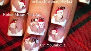 Nail Art Tutorials | Diy Easy Christmas Nails! | Cute Santa Skull Ornaments