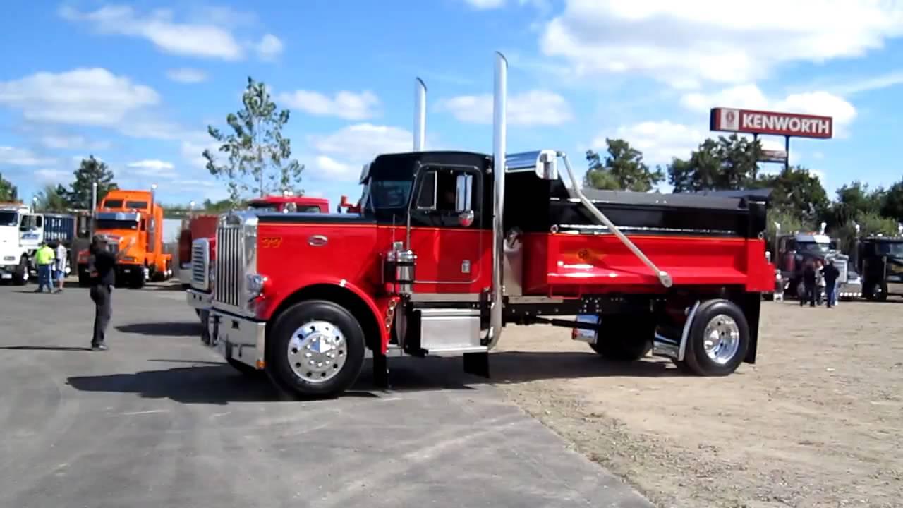 Western Star and Peterbilt 359 dump trucks pull into the ...