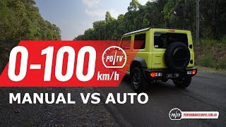 2019 Suzuki Jimny 0-100km/h & engine sound (manual vs auto)