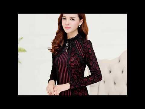 2018 Autumn Winter Fashion Lace Blouse Long Sleeve Slim Body Floral Lace Shirt Women