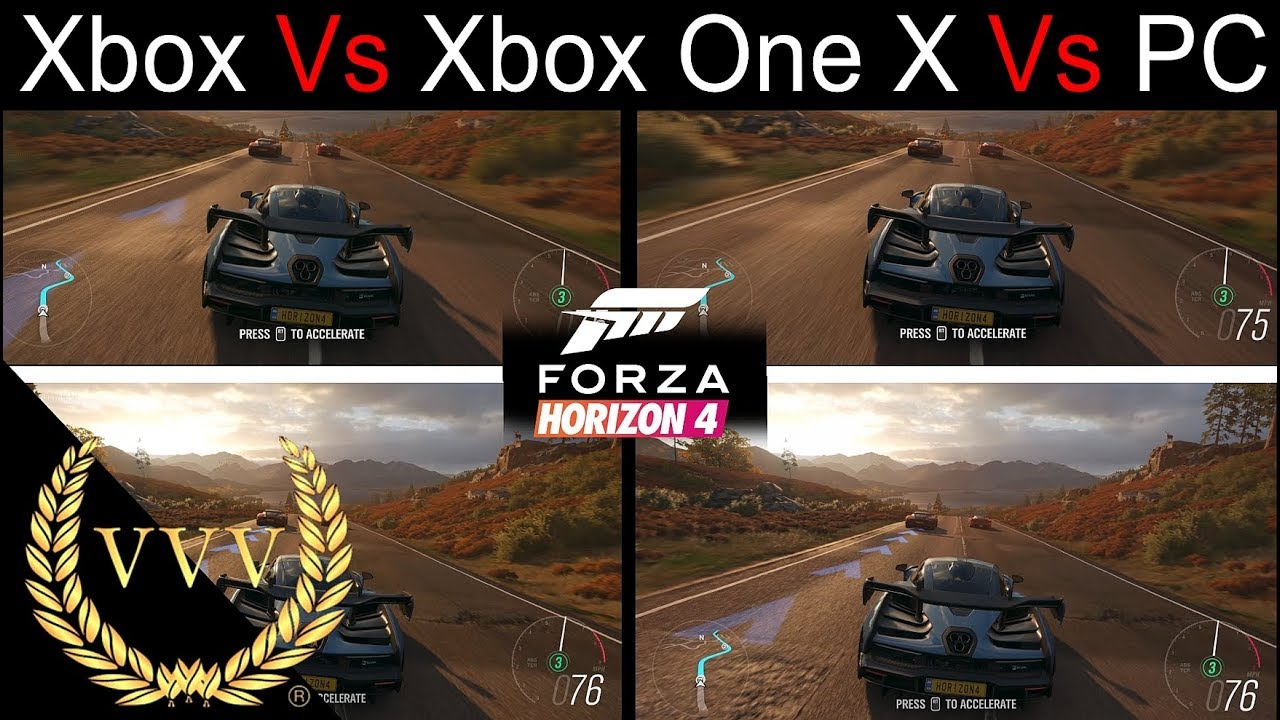 forza horizon 4 xbox one vs xbox one x vs pc youtube. Black Bedroom Furniture Sets. Home Design Ideas