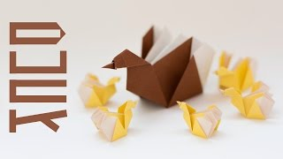 Five Little Ducks and Mother Duck from paper. Origami for kids step by step