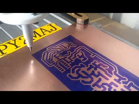 CNC 3018 In Action Drawing PCB  Artcam Gcode With Pen Adapter