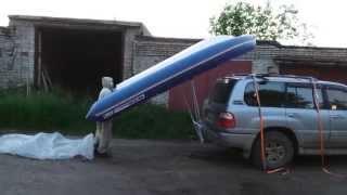 Приспособа для разгрузки и погрузки лодки WINboat 375 на крышу автомобиля и гаражное хранение риба.