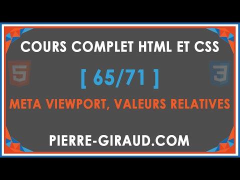 COURS COMPLET HTML ET CSS [65/71] - Meta Viewport Et Valeurs CSS Relatives