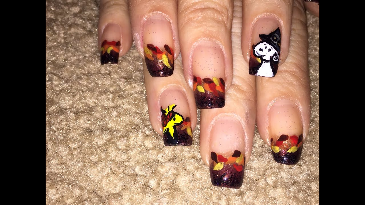 Fall thanksgiving nail art design with snoopy and Woodstock inspired ...
