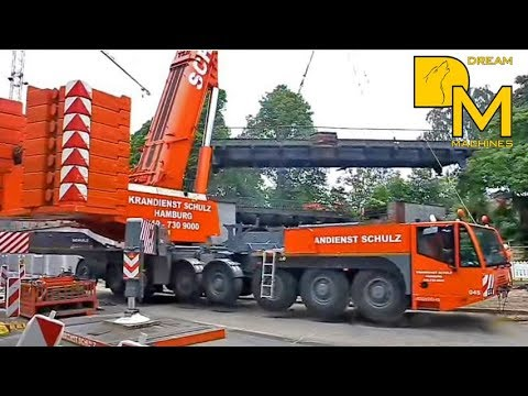 GIANT CRANES LIFTING RAILWAY BRIDGE ➔ LIEBHERR LG1550 TEREX AC500