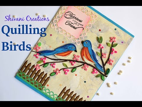 Paper Quilling Birds/ Handmade Quilled Greeting Card for Friend