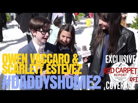 with DaddysHome2 stars Owen Vaccaro & Scarlett Estevez at LA Snow Day Event at TheGrove