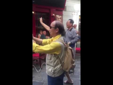 "England fans in Bratislava just now, singing ""chicken chow mein, barmy army"", with a Chinese woman."