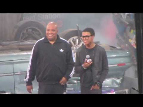 Reverend Run and his son Diggy live on stage in Times Square