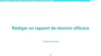 Rédiger un rapport de réunion efficace   ? MF-TG-03 Travail de groupe