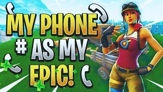 PUTTING MY PHONE NUMBER AS MY NAME TROLL | Fortnite Battle Royale