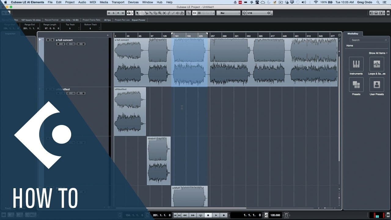 How to Split Files to Independent Files in Cubase LE   Q&A with Greg Ondo
